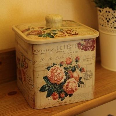 Free shipping 2pcs/lot European style retro receive box biscuit tin barrel drum square sealing coffee Storage Jars(China (Mainland))