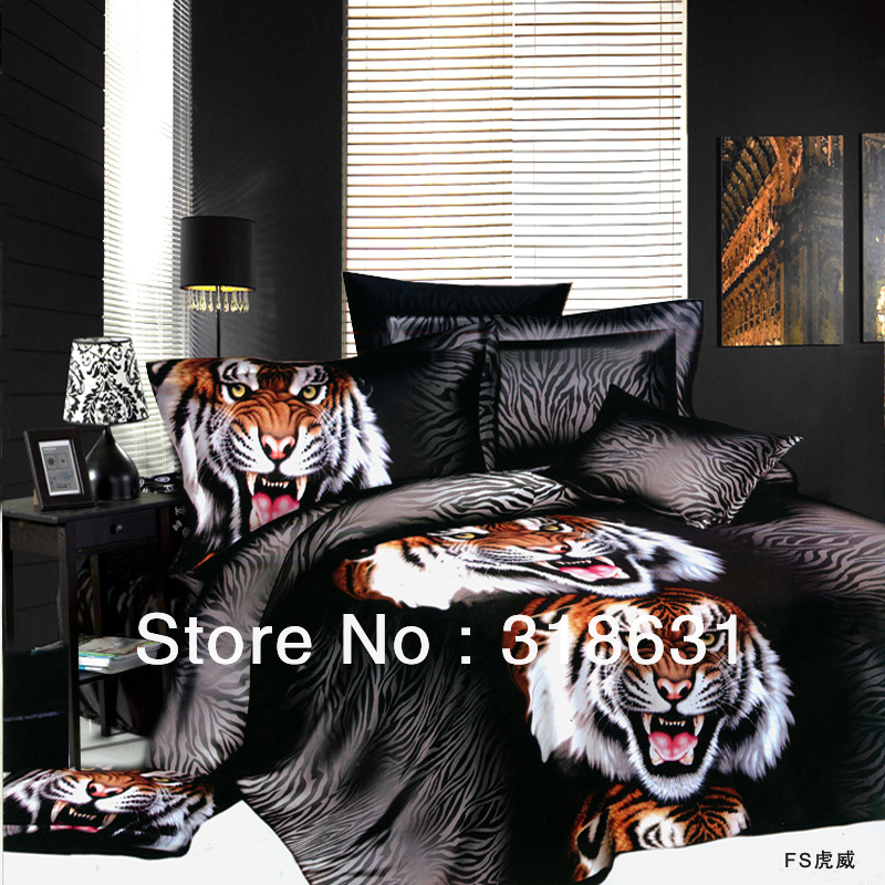 4 or 5pcs Low-cost Fierce Tiger Head Print Manly Duvet Covers Set Comforter Sets Room Essentials for Full/Queen Bed, Black(China (Mainland))