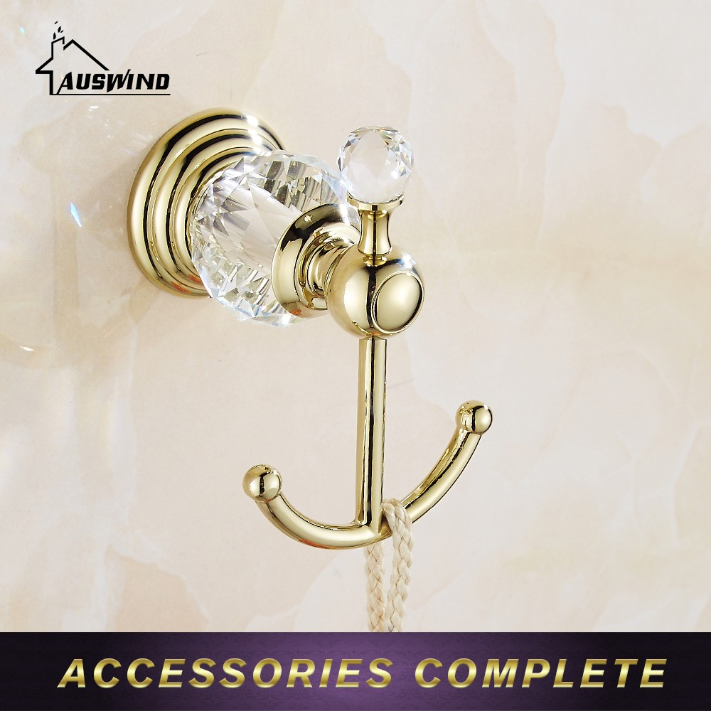 European Style Solid Brass Chrome Crystal Metal Coat Hooks Decorative Wall Hooks Wall Hanger Bathroom Accessories