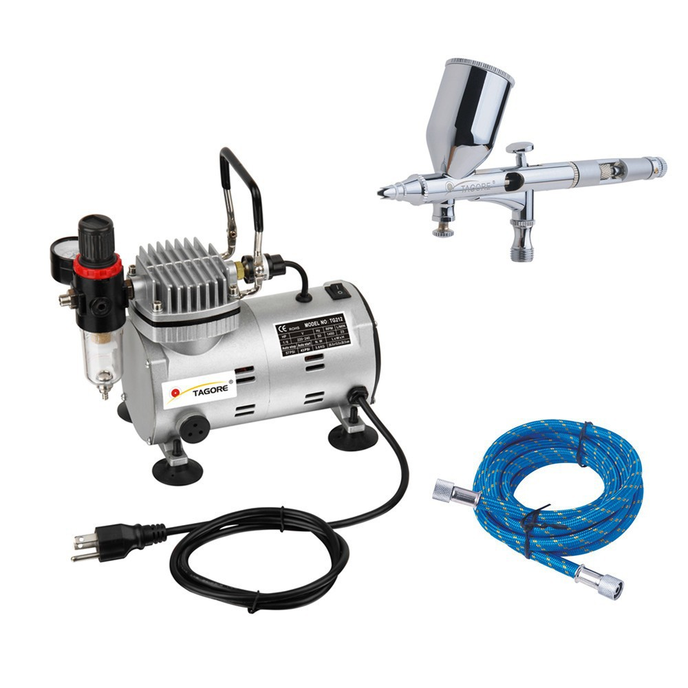 Tagore TG212-181 Professional Hot Body Art Hobby Model Paint Airbrush Gun with Single Cylinder Pistion Compressor(China (Mainland))