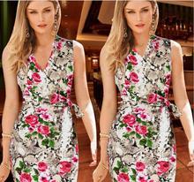 Vestidos 2015 Summer Style Women Vintage Flower Printed Bodycon Dress Desigual Party Dresses Vestido De Festa Robe Plus Size 4XL(China (Mainland))