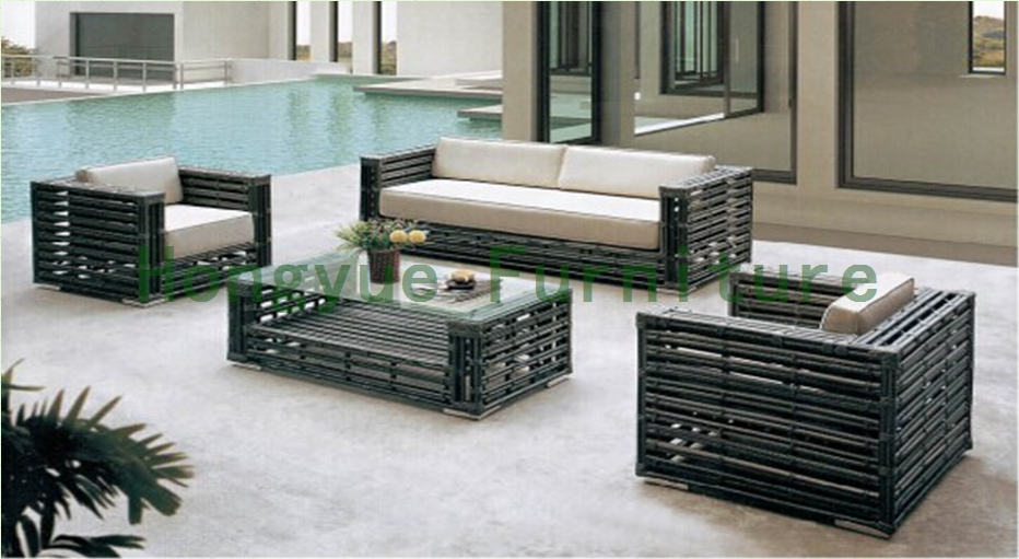 China Rattan Material Living Room Sofa Set Furniture With Cushions In Living