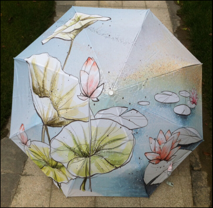YS-59 Lotus painting art umbrella fashion high quality Chinese painting folding sun protection anti uv ultra light umbrella(China (Mainland))