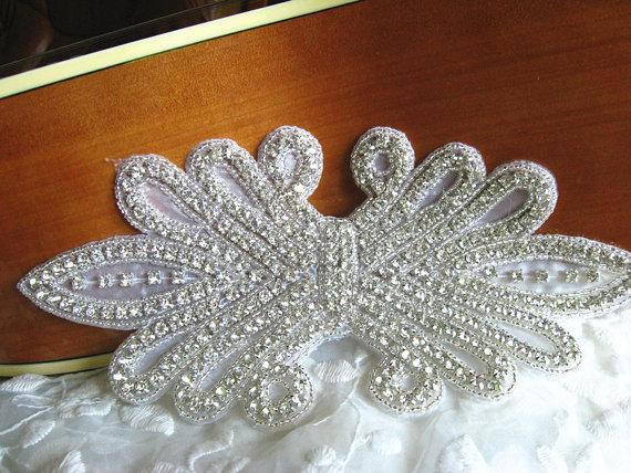 rhinestone Applique, bridal sash applique, retro rhinestone belt, RAE076