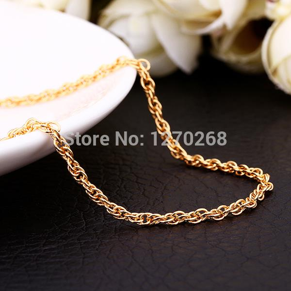 Top quality 18K gold plated twisted rope chain necklace fashion jewelry 1.5MMX26inches wedding / engagement gift(China (Mainland))