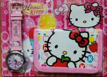 Wholesale - 3Sets sanrio Hello Kitty girls cartoon wrist watches + wallets a lot mix order(China (Mainland))