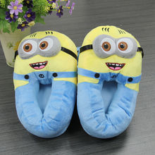 Big Size 11 Despicable Me Minion Figure Slippers Women Plush Men Slippers One Size Doll Indoor Cartoon Animation Slippers(China (Mainland))
