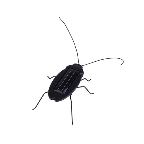 Solar Power Energy Cockroach 6 Legs Black Children Insect Bug Teaching Fun Gadget Toy Gift BS88(China (Mainland))