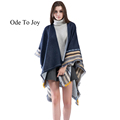 Ode To Joy 2016 New Brand Women s Winter Poncho Vintage jacquard Blanket Women s