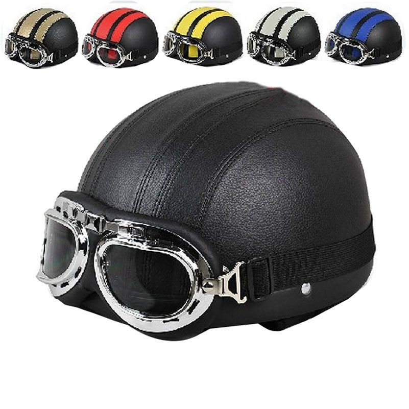 High Quality Spring Men Women Motorcycle Helmet Open Face Bike Bicycle Scooter Helmet with Glasses(China (Mainland))