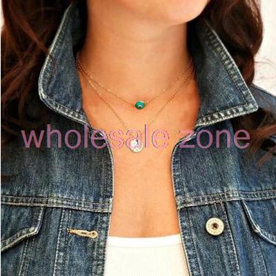 WA5212 20pcs/lot hot double evil eye necklace Turquoise Euro punk pendant necklace fashion jewelry for men and women(China (Mainland))