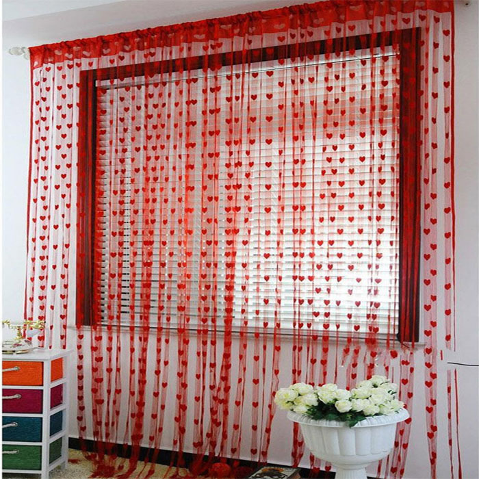New 2015 Fashion Heart Cute Curtain Line String Tassel Window Curtain Valance 7 Colors Floral Window Curtain Cortina de ventana(China (Mainland))