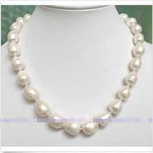 10-13MM SOUTH SEA WHITE BAROQUE PEARL NECKLACE 17 inchAAA GH0ZY-YU - cridy's store