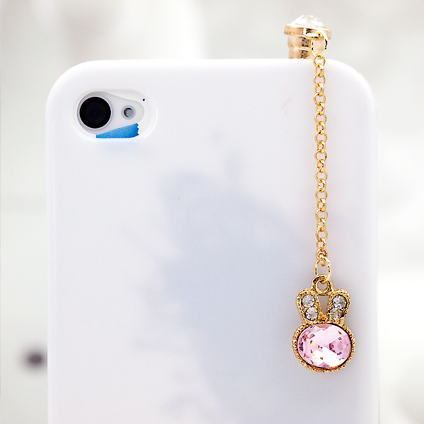 Cute Crystal Rabbit Style Shiny Alloy Rhinestones Pendant Earphone Jack Plug 3.5mm Dust Plug with Chain Gift for Women and Girls(China (Mainland))