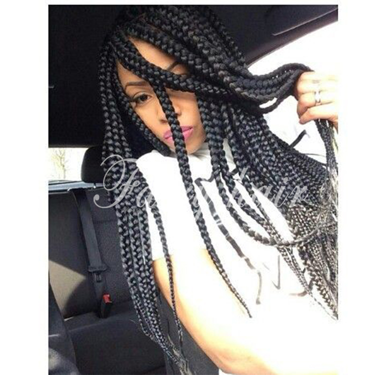 2015 Braided Lace Front Wigs Long Black Synthetic Wigs For Black Women Thick Full Hand Braided Synthetic Hair Micro Braided Wigs<br><br>Aliexpress