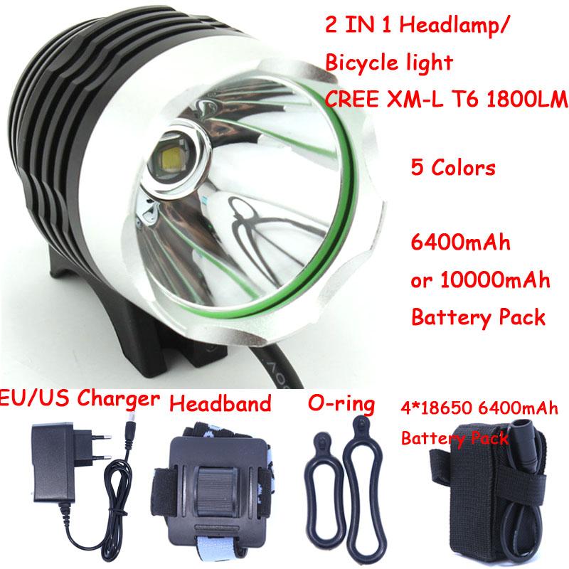 1800 Lumen CREE XM-L T6 Bike Bicycle Light LED Light Flashlight with 8.4V 6400mah or 10000mAh Battery Pack & Charger(China (Mainland))