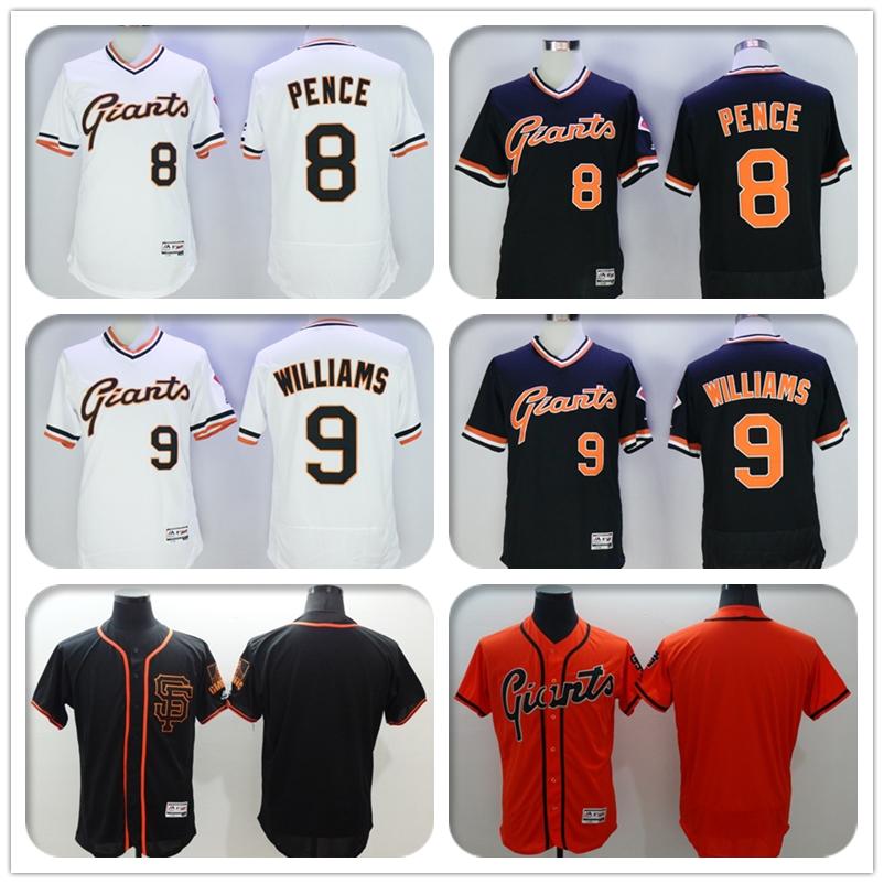 Mens Flexbase #8 Hunter Pence #9 Matt Williams #Blank Jersey Color Black Orange Gray White Throwback Jerseys(China (Mainland))