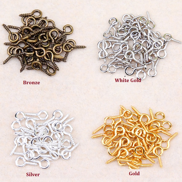 1320Pcs/Lot L=8MM Screw Eyes Pin Findings Clay Jewelry Resin Bead Plastic Pin Bail Peg for Half-drilled Beads DIY Accessories(China (Mainland))