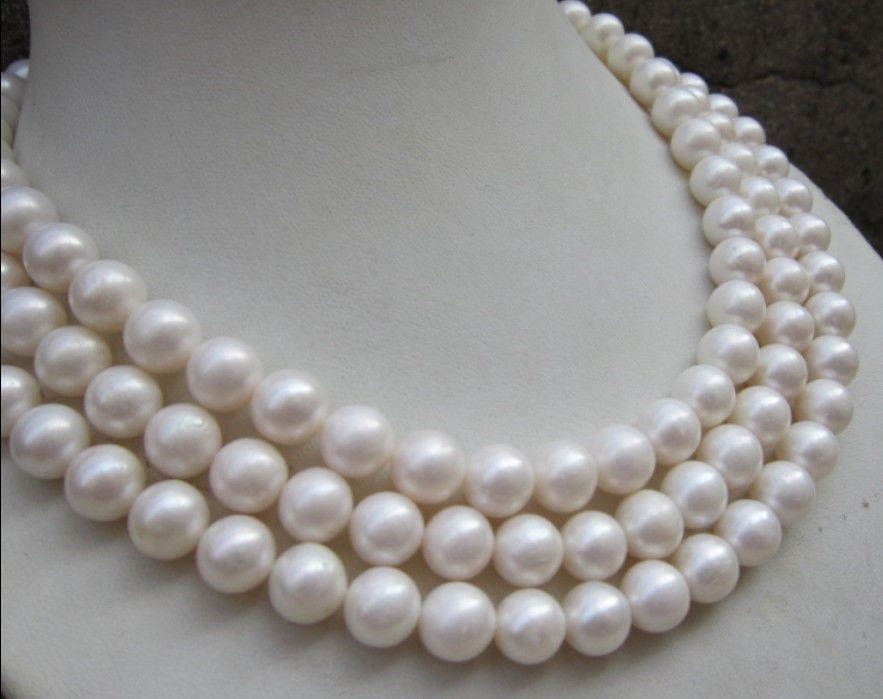 fast NATURAL AAA+ 10-11MM PERFECT ROUND SOUTH SEA WHITE PEARL NECKLACE 48 14K Clasp<br><br>Aliexpress