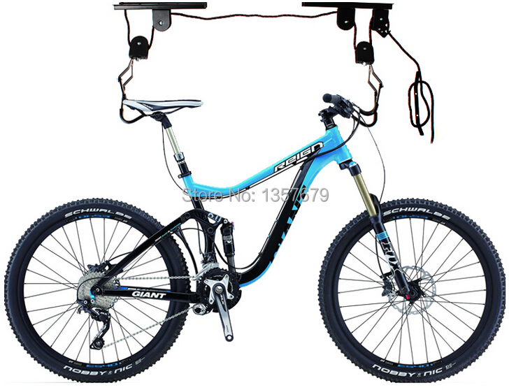 Free Shipping Bicycle Lift Hoist Ceiling Mount Bike Storage Display Hanger Roof Rack Hook Garage Stand Easy To Use Pulley System(China (Mainland))