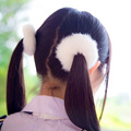korean fashion rabbit fur pom pom elastic Hair bands headbands for women girls kids ponytail holder