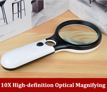 NEW 10 times high-definition optical reading lamp magnifying ,Handheld with lamp magnifying glass