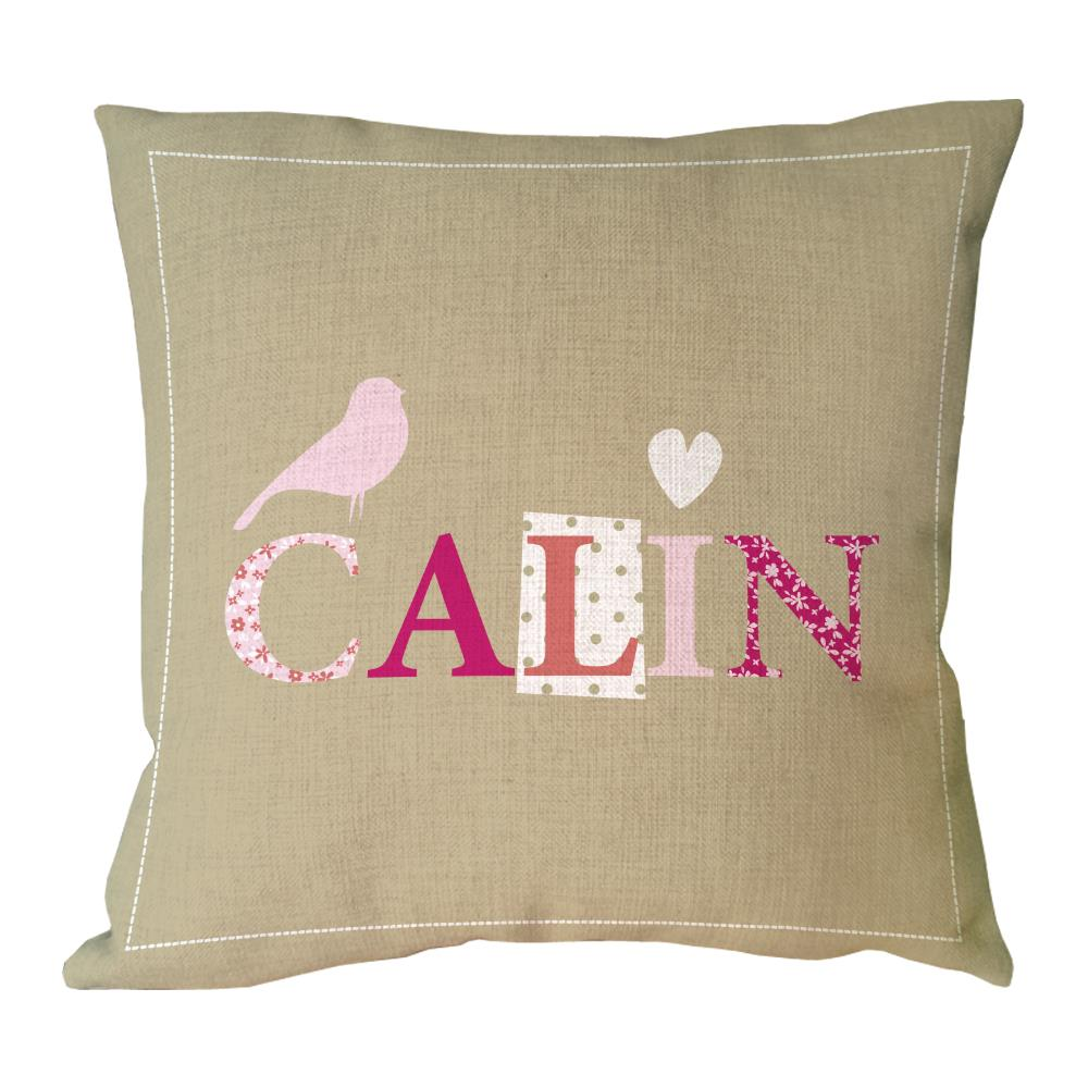letter calin with bird and heart shape printed custom animal cushion cover decorative cotton linen throw
