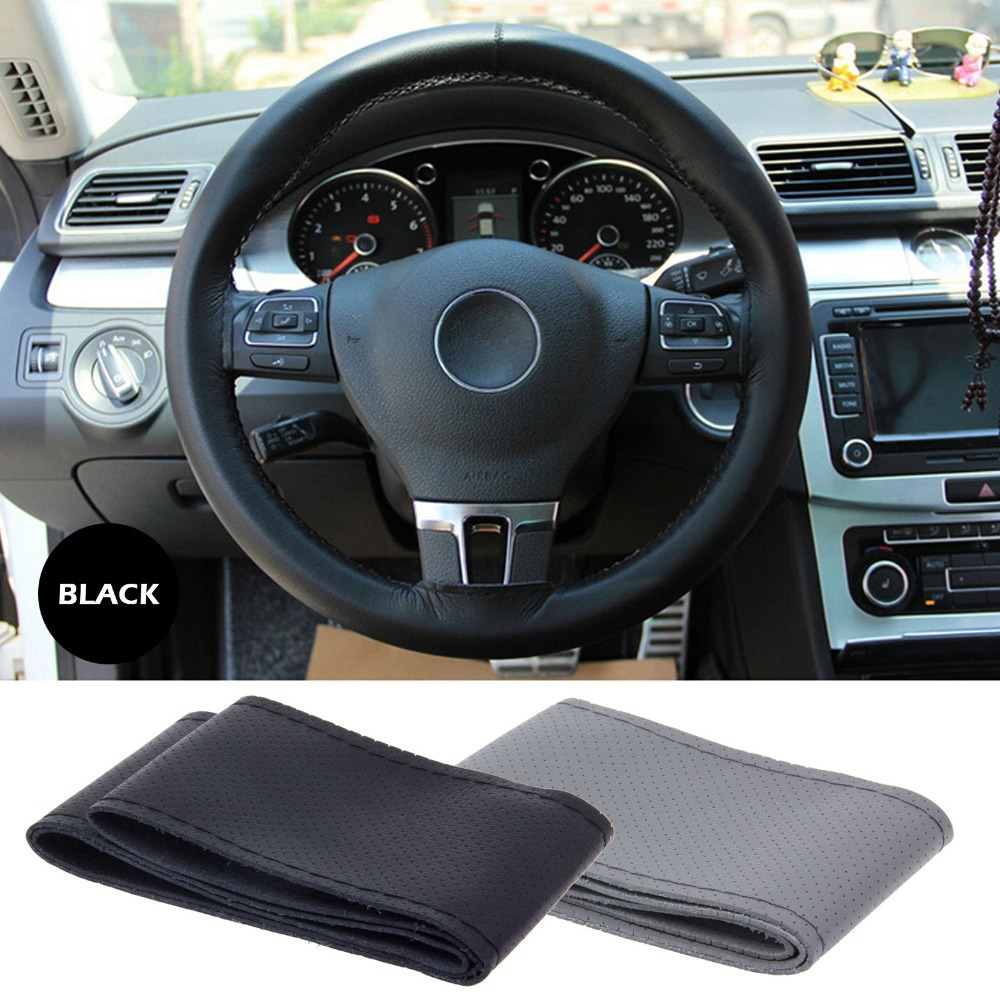 High quality Genuine Cowhide Leather Car Steering Wheel Cover Racing Steering wheel Black And Grey For Choose(China (Mainland))