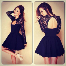 New Sexy Lace Women Dress Floral Backless Vestido de Renda Summer Long Sleeves Stitching Slim A-Line Mini Short Black Dress(China (Mainland))