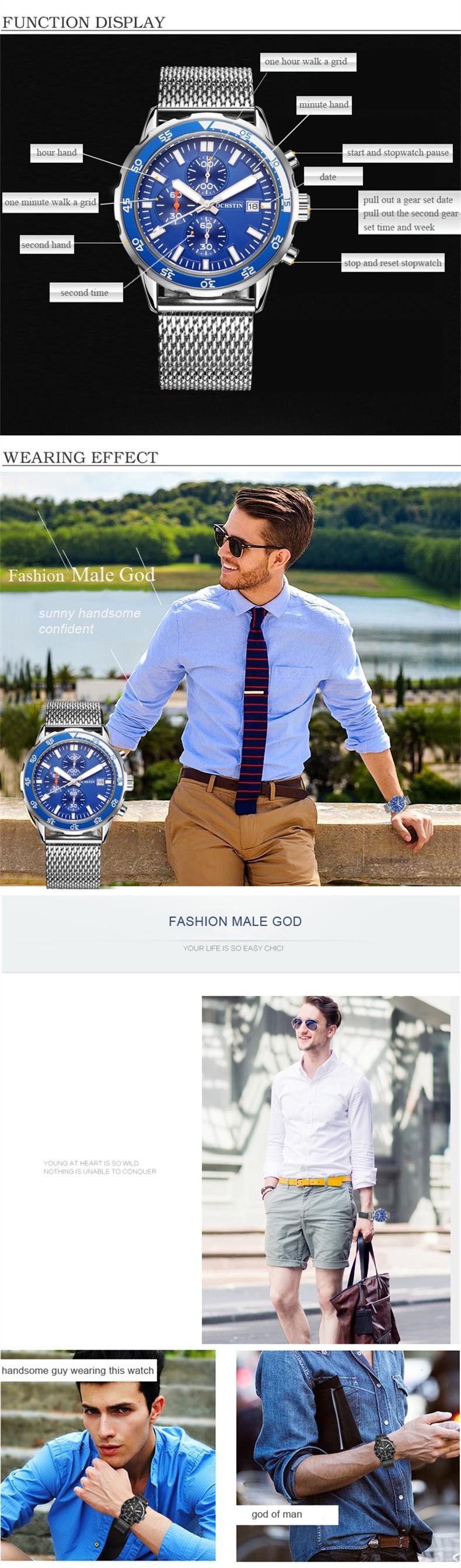 Мода Мужчины Смотреть Luxury Brand Спорт Кварцевые Часы Мужские Наручные Часы Из Нержавеющей стали сетка ремешок Бизнес Мужчины Часы Relogio Masculino