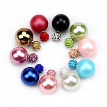 2016 New Fashion jewelry double pearl earrings brincos candy color earrings for women pendientes trendy stud earrings(China (Mainland))
