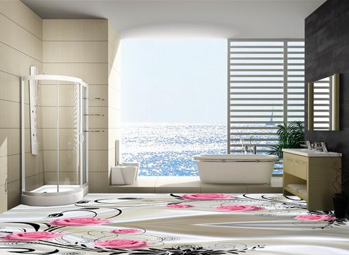 europe silk rose 3d flooring pvc wallpaper soundproof floor bathroom