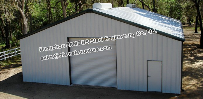 Pre engineered structural steel small car garage in steel for Pre engineered garage