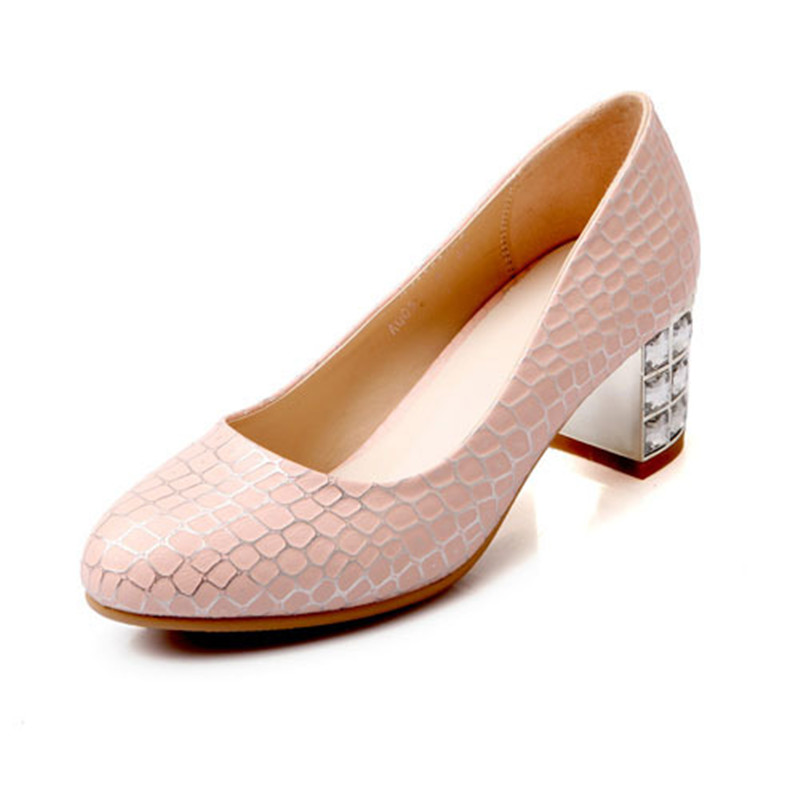 ENMAYER  beautiful Rhinestone fashion women pumps date party square heels shoes for girls slip-on pu Spring and Autumn  pumps<br><br>Aliexpress