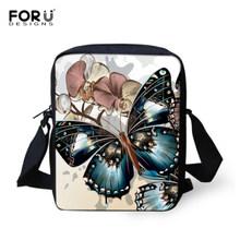 Forudesigns Butterfly Floral Dicetak Tas Selempang untuk Wanita Wanita Kasual Mini Anak Perempuan Messenger Tas Anak-anak Bolsos Mujer(China)