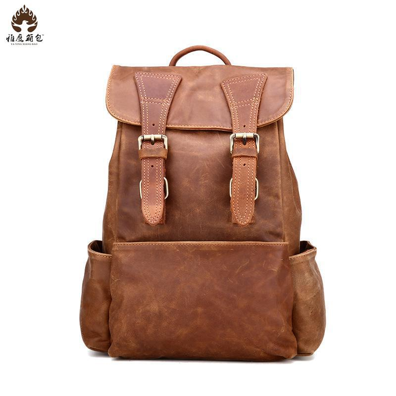 Foreign Trade Trends In Europe And America Ladies Leather Backpack Backpack Retro Fashion Leather Leather One Generation
