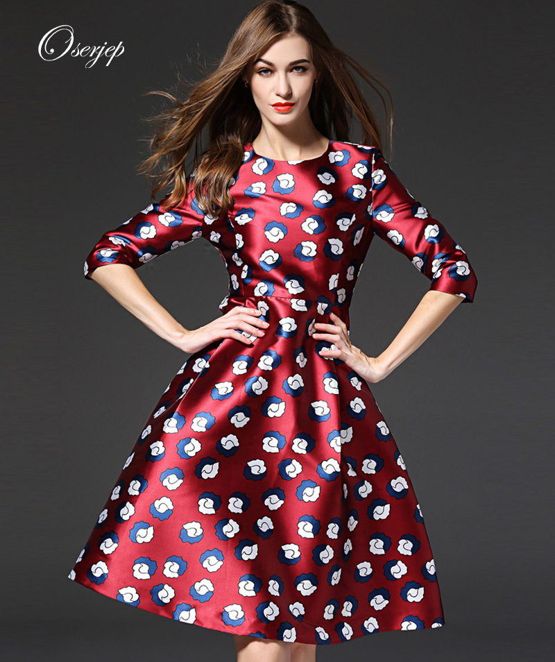 2016 Oserjep Women Floral Printed Midi Dress Long Sleeve O-Neck Red Dresses Fashion Casual Office Lady DressОдежда и ак�е��уары<br><br><br>Aliexpress