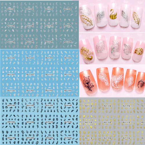 4 Sets Gold/Silver/Black/White 3d Nail Art Stickers Decal Fashion Feather Decoration Accessories HBJY133-144 - Sara Products store