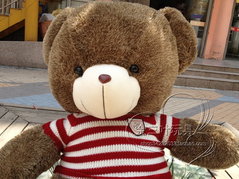 lovely huge bear toy plushed toy stuffed bear toy teddy bear birthday red and white clothes bear about 110cm(China (Mainland))