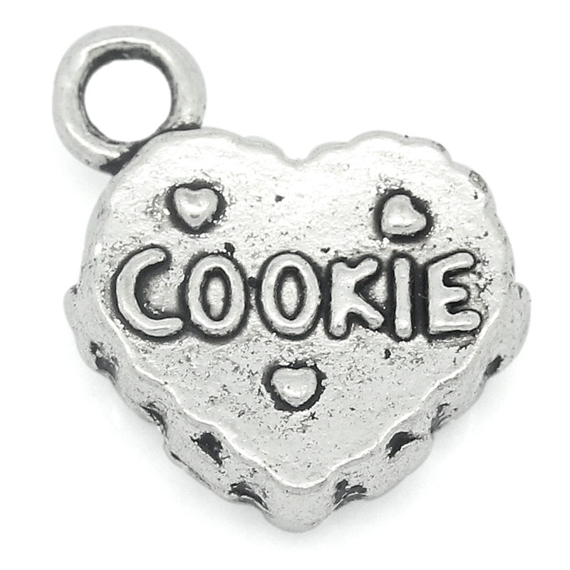 """2015 NEW 30 PCs Charm Pendants Carved """"COOKIE"""" Heart Silver Tone 14mmx13mm HOT sale New Arrival (Over $120 Free Express)(China (Mainland))"""
