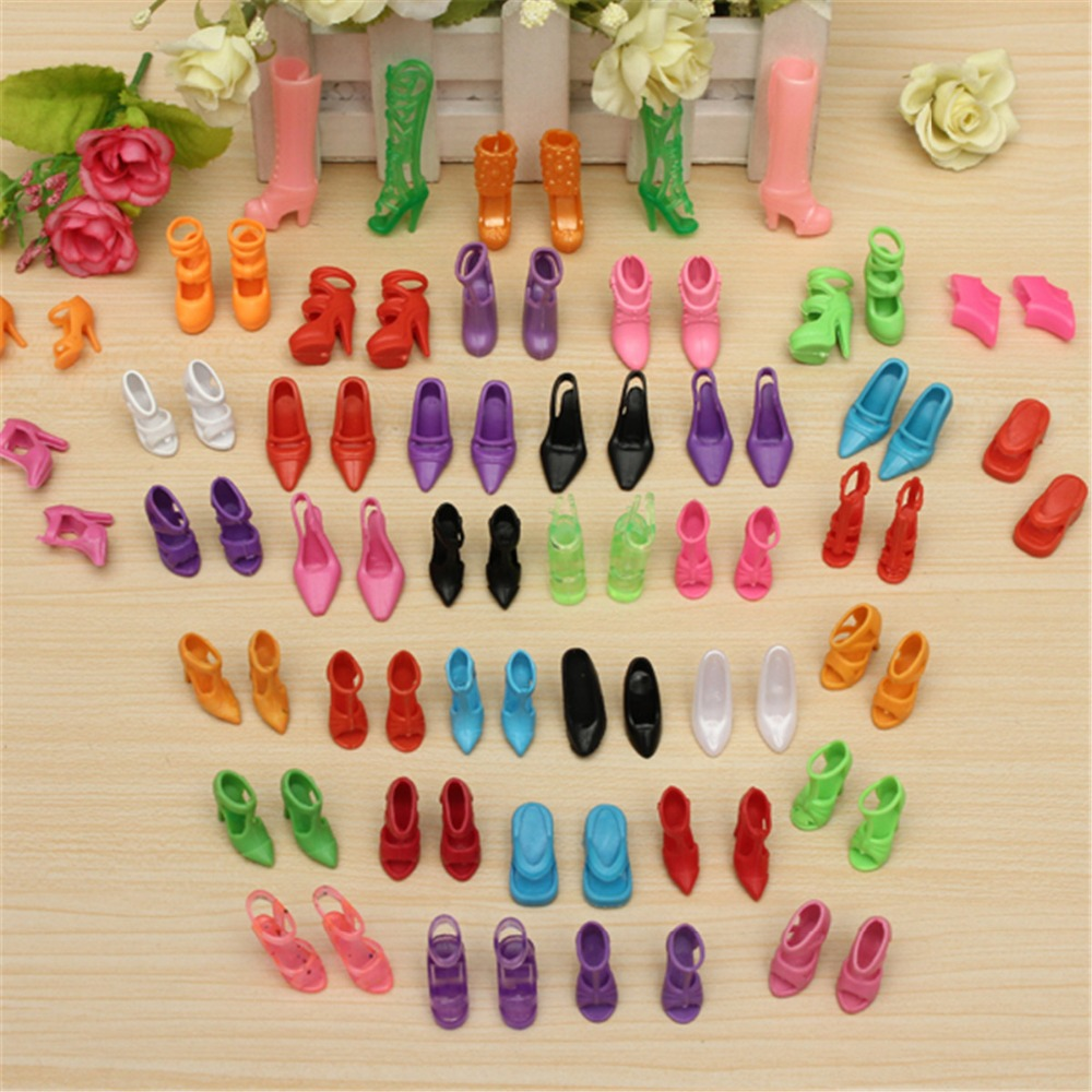 Wholesale 40 Pairs 80pcs Doll Shoes Fashion Cute Colorful Assorted shoes for Barbie Doll with Different styles Baby Toy(China (Mainland))