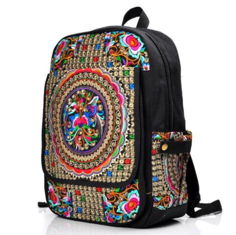 2014 New Fashion Women Backpack canvas school bags travel Bag Vintage Hand made Embroidered Bags Ladies Embroidery Mochila