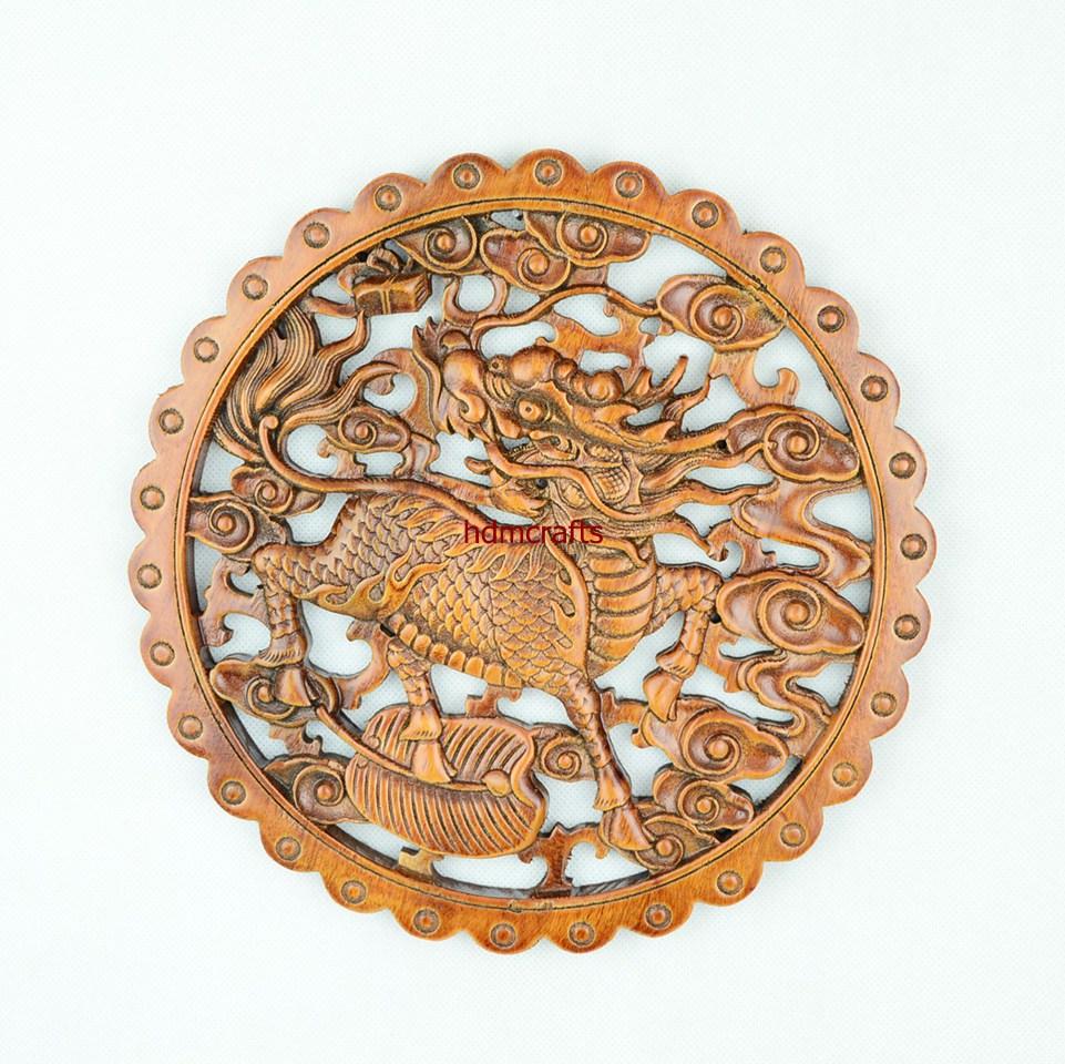 Asian Animal Kylin Fu Foo Dog Lion Figurine Chinese Round