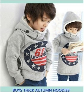 Cleanstock gray thick style 68 letter printing boys hoodies children hoody kids clothes boys Sweatshirts