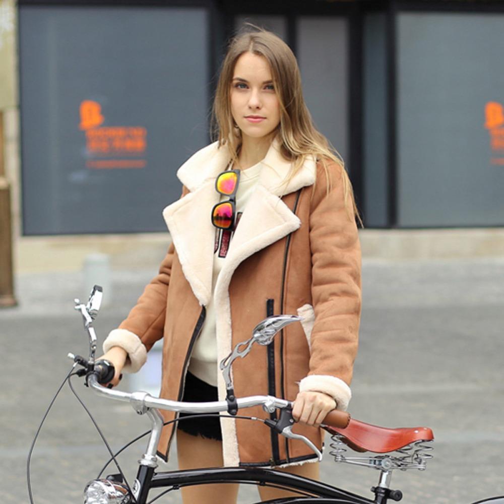 Veri Gude Winter 2014 New Women's British Style Flat Fur Collar Suede Motorcycle Leather Coat