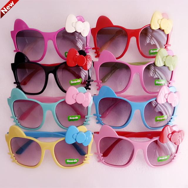 Дети Пластиковая Рамка Солнцезащитные Очки Дети Девушки Bownot Кот Оттенки Очки criança Óculos De Sol детские солнцезащитные очки