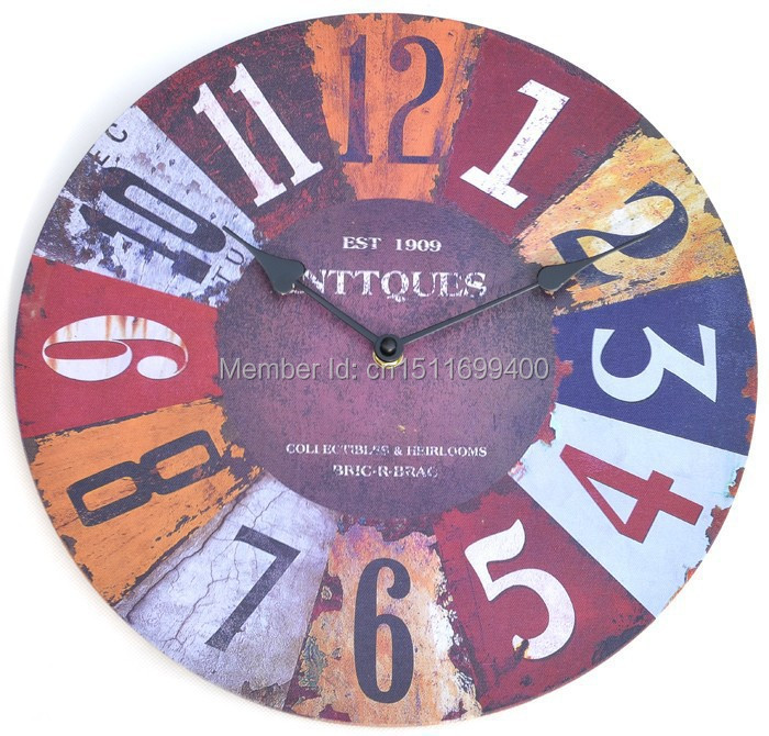 Quality Arabic Numbers Retro Fashion Creative Living Room Wall Clock Mute England Watch Rustic Decoration Wooden Free Shipping(China (Mainland))