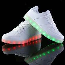 Free Shipping Led Shoes Unisex Valentine Fashion USB Rechargeable Light Up For Adults 7 Colors Luminous Men And Women LED Shoes(China (Mainland))