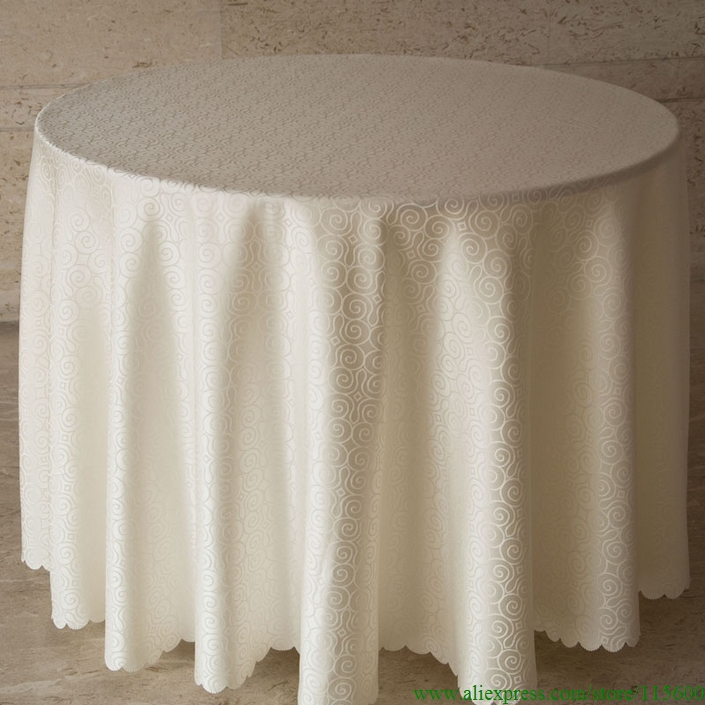 Free Shipping Hotel Restaurant Square Round Tablecloths 300cm Beige Table Cover(China (Mainland))