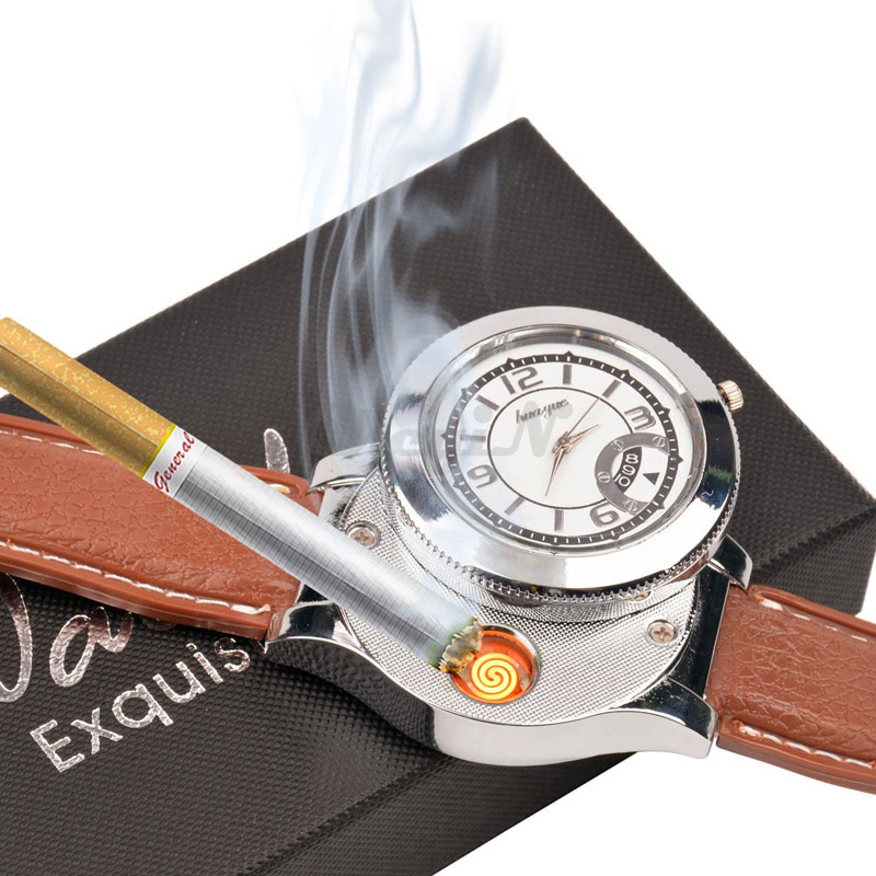Luxury Brand Men Military Army Leather Watch Women Analog Watch With Windproof Flameless Cigarette Cigar Lighter WL005-P3739(China (Mainland))